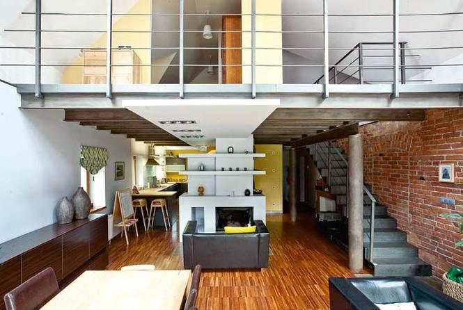 Industrialne wnętrza w przebudowanym domu